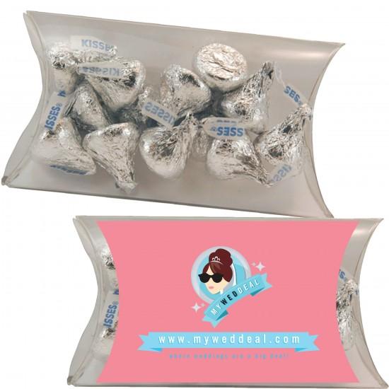 Custom Logo Medium Pillow Pack With Hershey Kisses, Hershey Miniatures