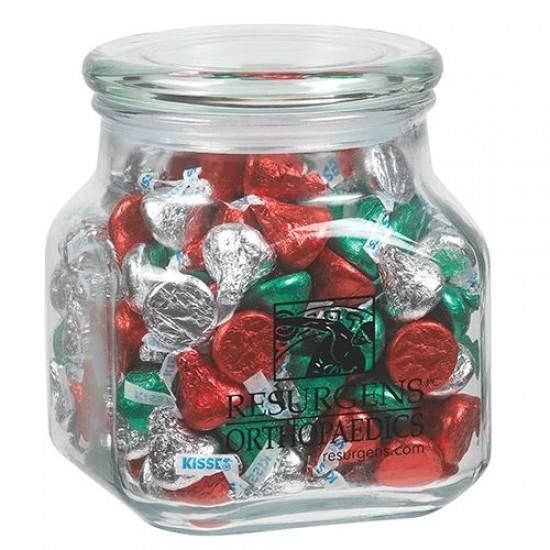 Custom Logo Contemporary Glass Jar - Hershey Holiday Kisses (32 Oz.)