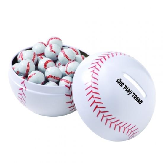 Custom Logo Small Themed Tin Banks - Chocolate Sport Balls